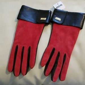 MOSCHINO Cashmere lined suede/calfskin gloves